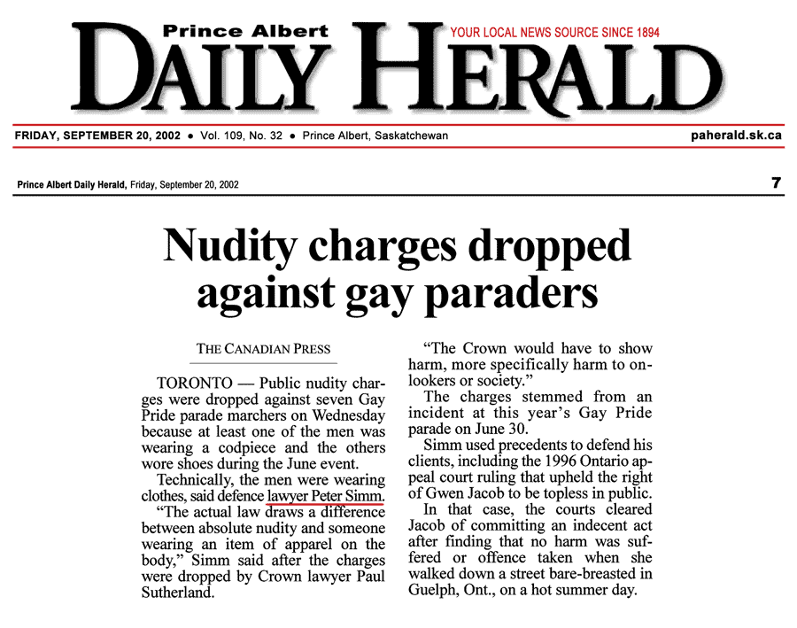 Prince Albert [Sask.] Daily Herald 2002-09-20 - Simm convinces Crown to drop nudity charges against Pride marchers